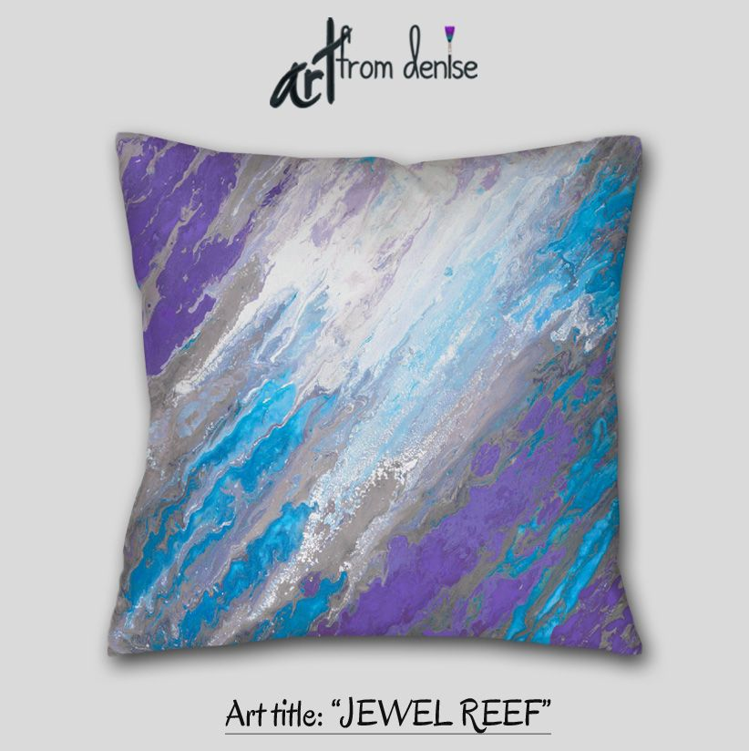 Decorative Pillow Grey Purple Blue Abstract Art Throw Pillow Extraordinary Jewel Tone Decorative Pillows