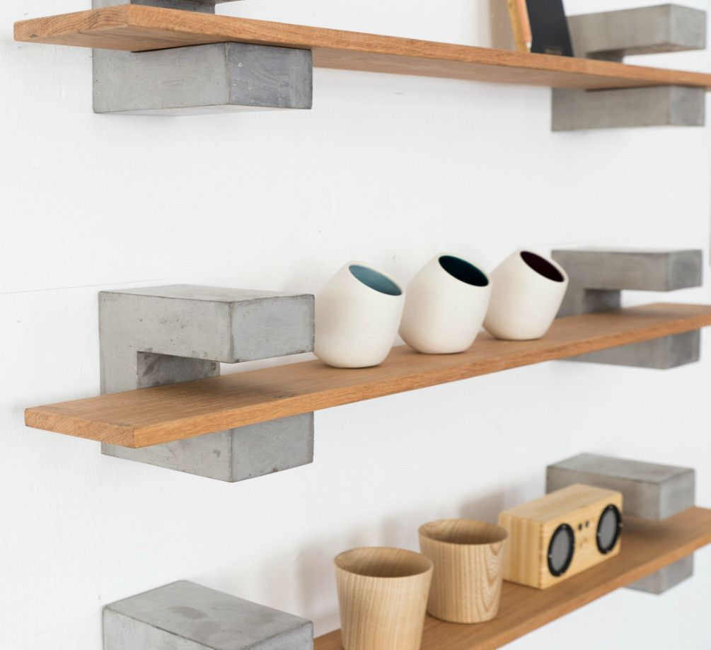 Wood concrete shelf by sue pryke a british homeware designer they have a brutalist element Concrete and wood furniture