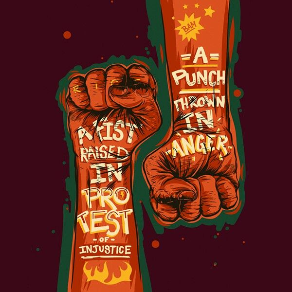 A fist raised, A punch thrown. Typography Design