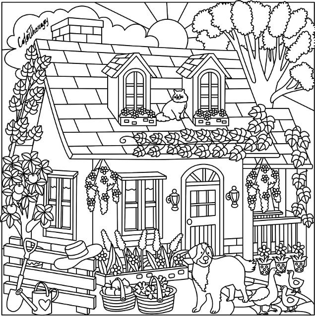 Cottage Coloring Page Cat Coloring Page Adult Coloring Pages