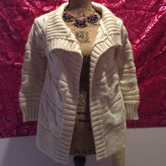 Beautiful fall sweater! White wool sweater from loft. Worn 2-3 times. Like new condition. Perfect for fall and winter! No pulls or rips. LOFT Jackets & Coats