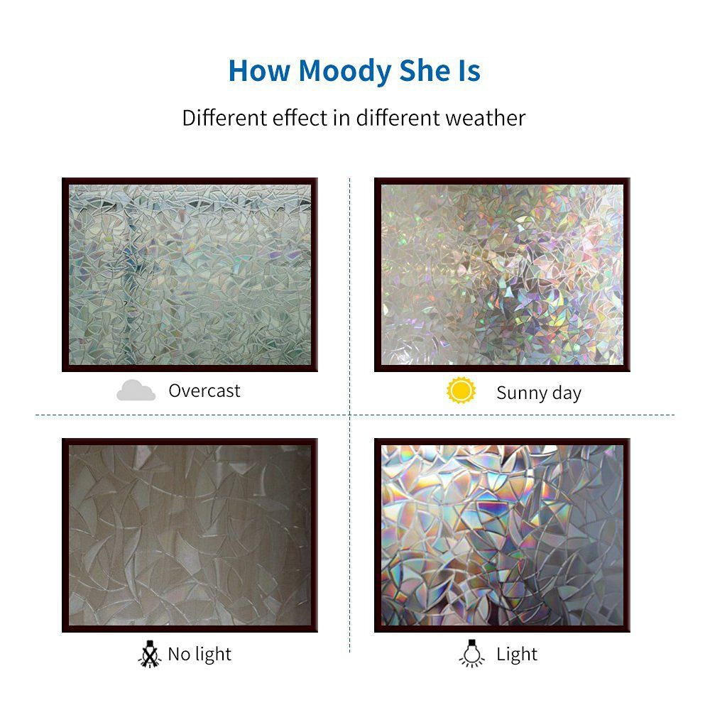 Amazon Com Rabbitgoo 3d No Glue Static Decorative Frosted Privacy Window Films For Glass Self Adhesive Window Film Privacy Window Privacy Glass Window Decals