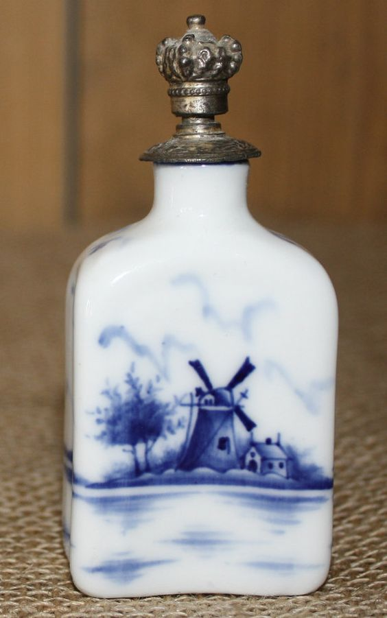 *Antique Blue & White Porcelain Delft Perfume Bottle with Windmill Scene and Metal Cork Cap