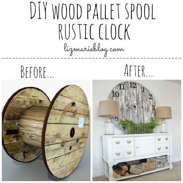 Diy Wood Pallet Clock Repurposed Wood Cable Spool Pallet Clock