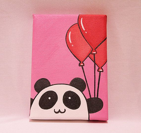 Balloon Panda I Want To Paint On A Canvas Kids Canvas Art Diy Canvas Art Painting Diy Art Painting