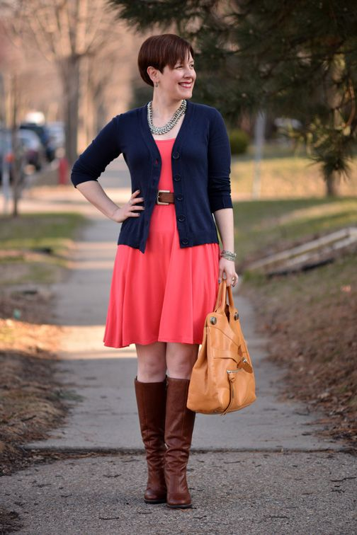 5c8bb4cc99ab Already Pretty outfit featuring navy cardigan, coral Old Navy dress, cognac  boots, BCBGeneration Doris, Foley + Corinna Jet Set Tote, H necklace, ...