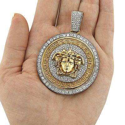 Unique Versace Style Diamond Pendant 6ct 10k Gold Medusa Head Gold Chains For Men Diamond Pendant Mens Pendant
