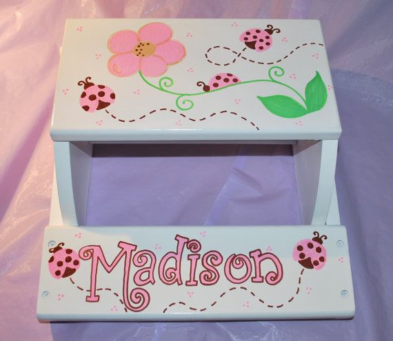 Children's Flip Step Stool Bench Ladybugs and by confettigiftsbyg
