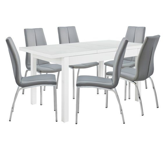 buy hygena lyssa extendable dining table 6 milo chairs grey at