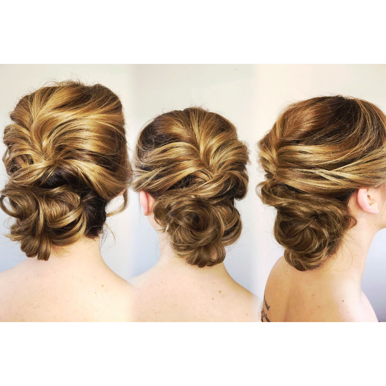Three different dimensional upstyling looks showcasing balayage hair color and updo. Bridal up style bridesmaids bridesmaid bride wedding hair Spring Summer classic romantic modern soft whimsical ethereal beautiful gorgeous bronde chic hairstyle hairstyling Buffalo New York WNY East Amherst @hairreformation for more copper strawberry blonde bronde golden gold dark blonde warm colormelt hair love inspo inspiration wedding look 2017