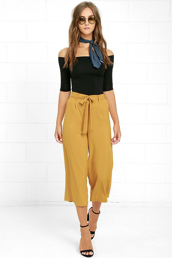 fb0a2c1ce7a07 The Sunny Stroll Mustard Yellow Culottes are sure to brighten up your day!  A tying waist (with elastic at back) tops these chic woven culottes in a  bold ...