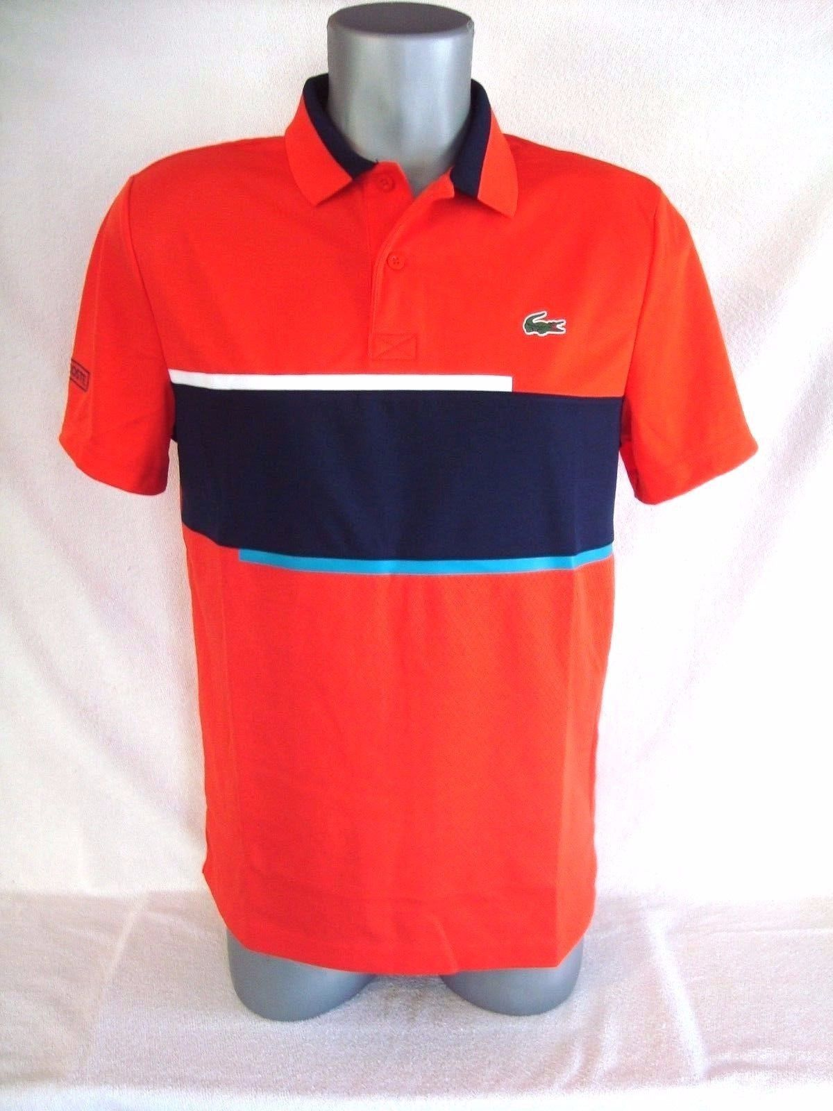 Lacoste Sport Rednavy Blue Ultra Dry Mens Pique Knit Tennis Polo