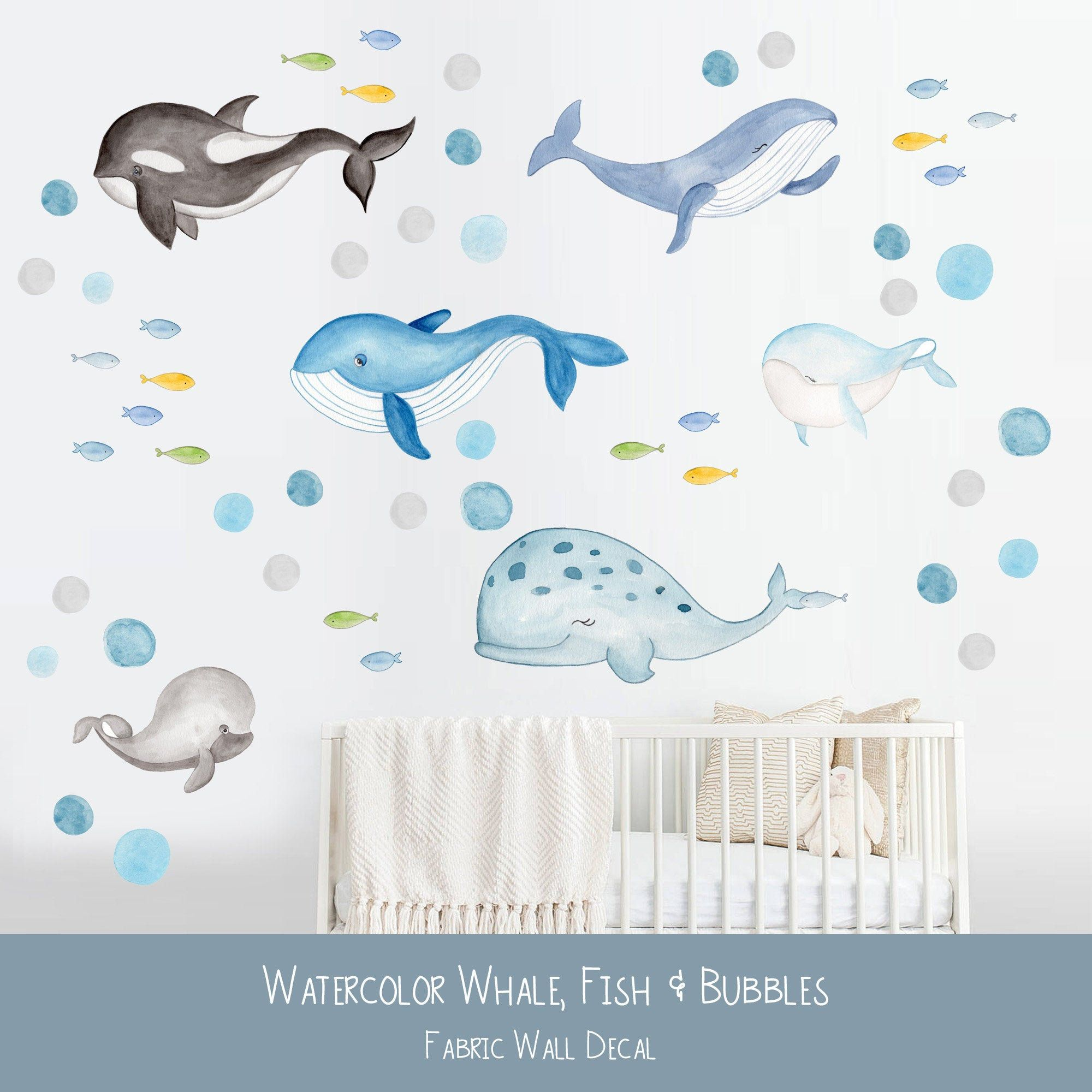 Whale Decal Nursery Wall Sticker Watercolor Whale Decals Ocean