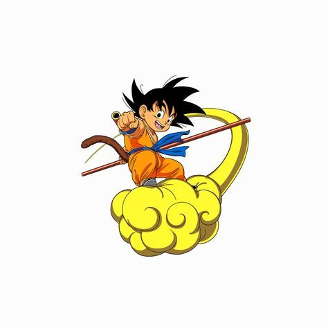 Dragonball Goku Cloud Fly Anime Art Illust White iPad Air