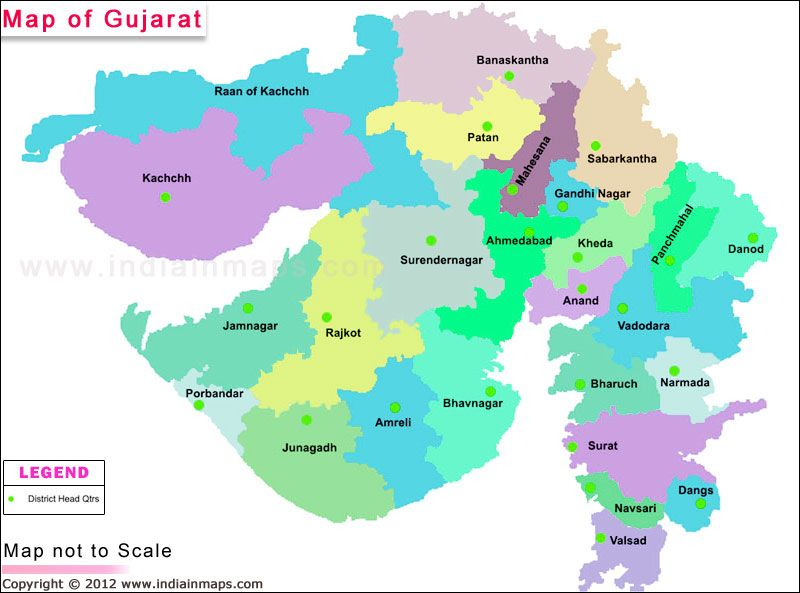 Gujarat District Map. Political Map of Gujarat, India. Find district ...