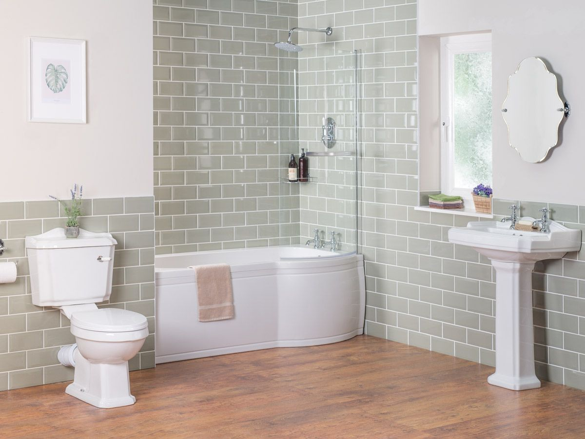 Abbey Traditional Bathroom Suite with Right Hand P Shape Shower Bath ...