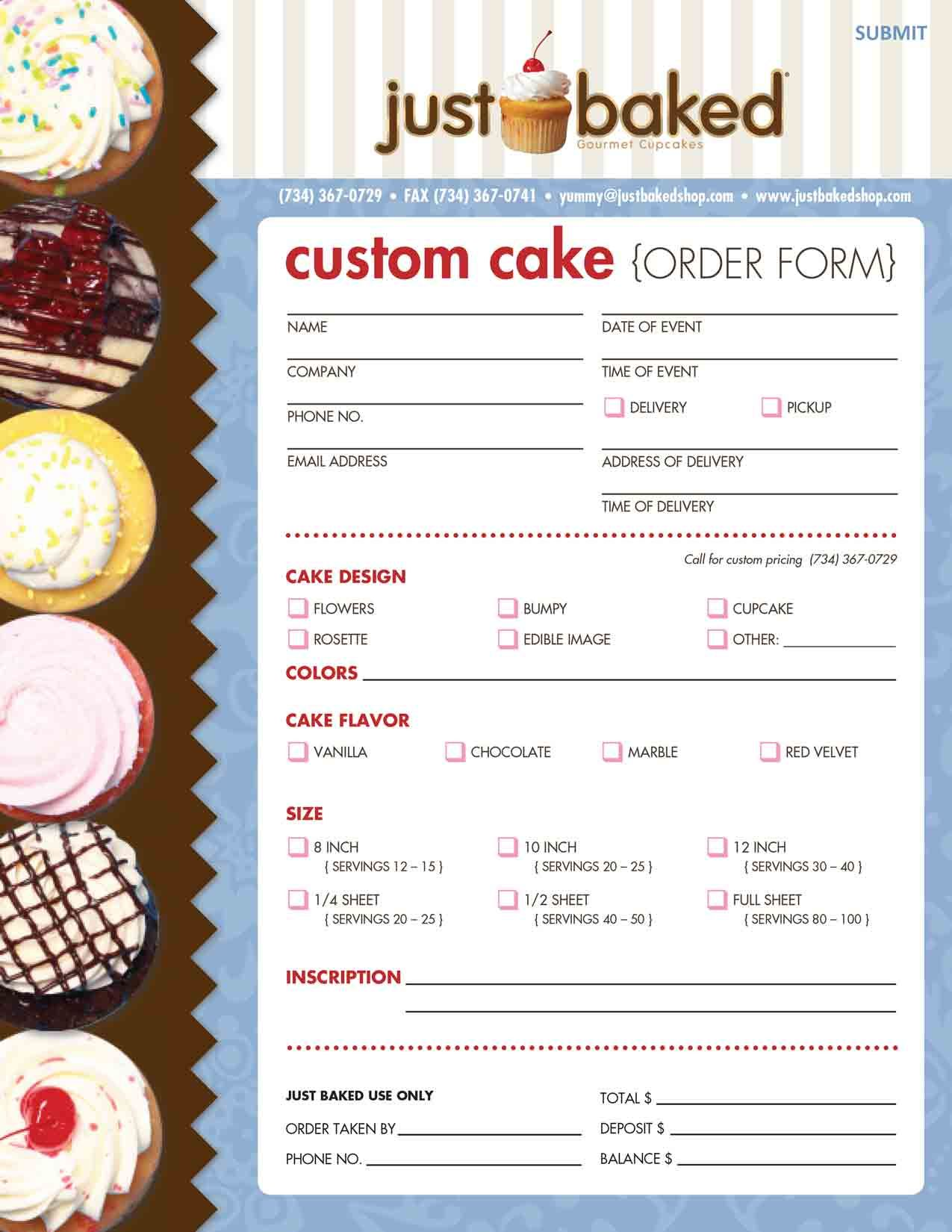 cake order contract – Sample Cake Order Form Template