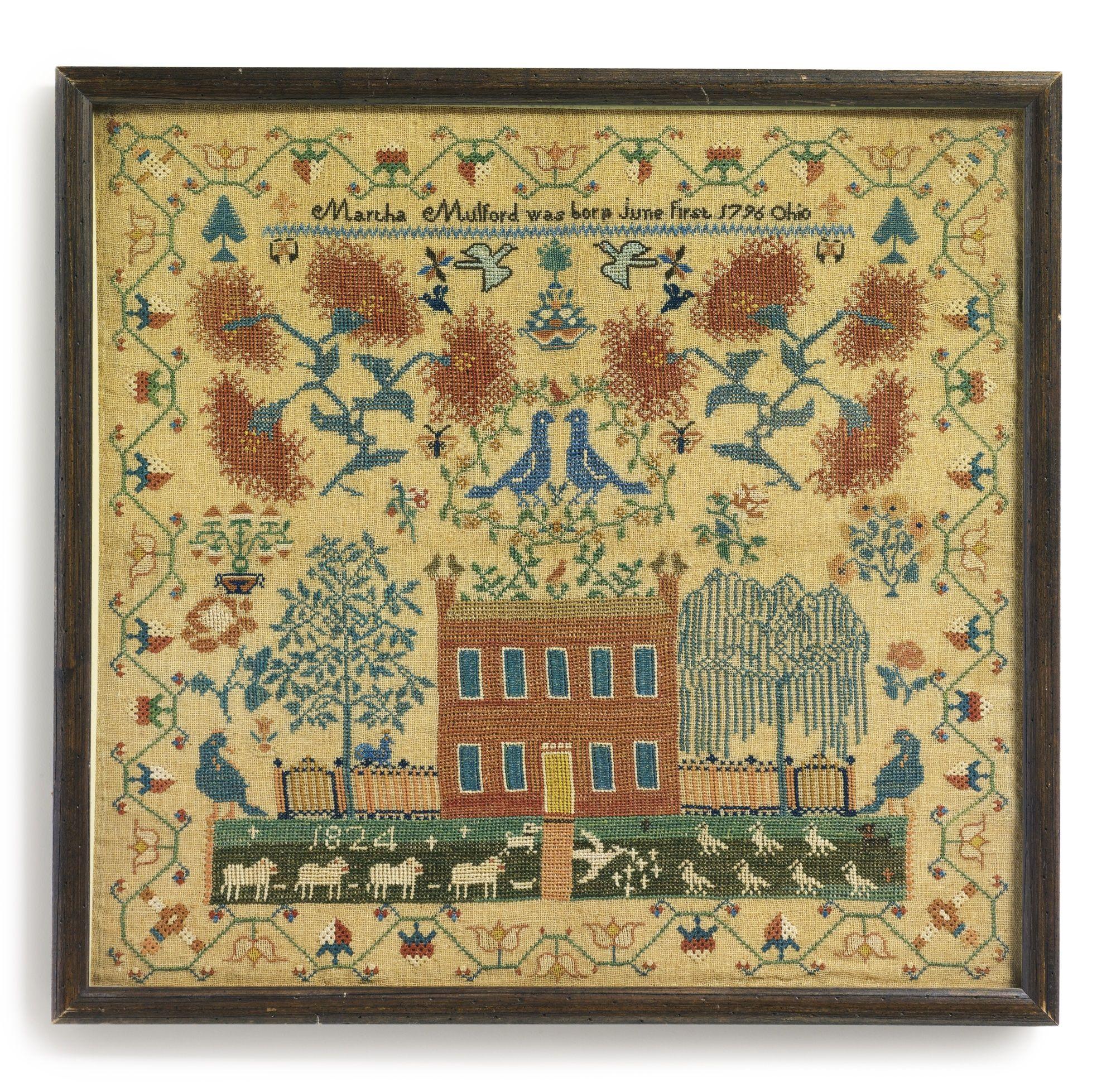 Ohio clark county new carlisle - Rare Needlework Sampler Martha Mulford New Carlisle Clark County Ohio Dated 1824