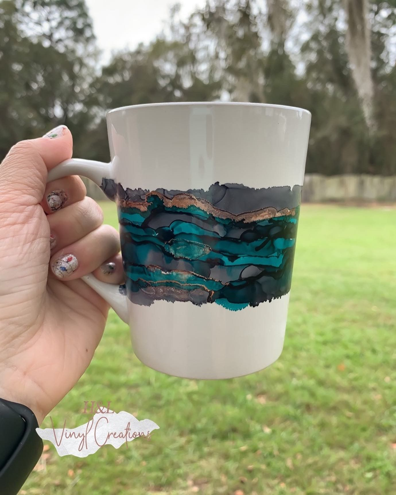 Alcohol Ink Mug Alcohol Ink Art Handmade Mug Custom Mug
