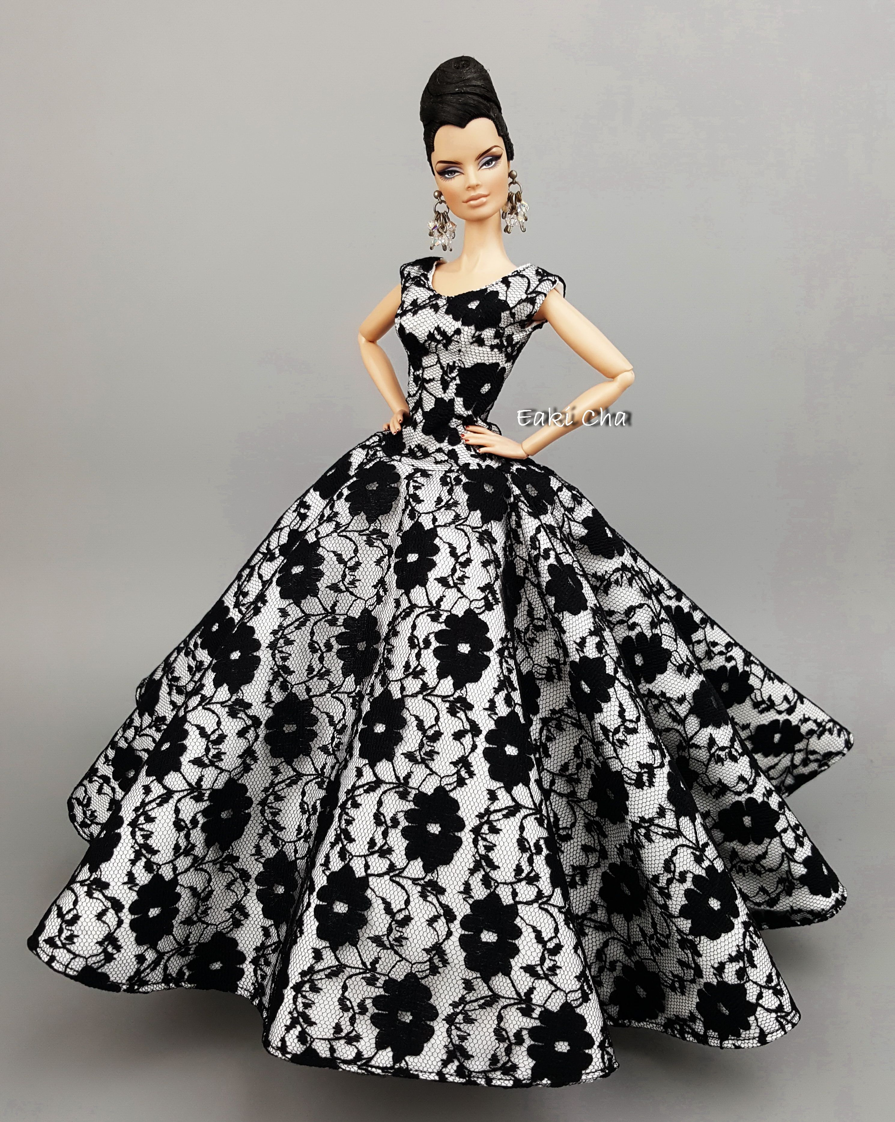Brown Gown with Lots of Beautiful Black Lace Made to Fit Barbie Doll