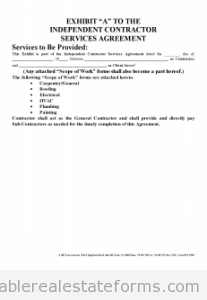 Free Independent Contractor Agreement Printable Real Estate Document