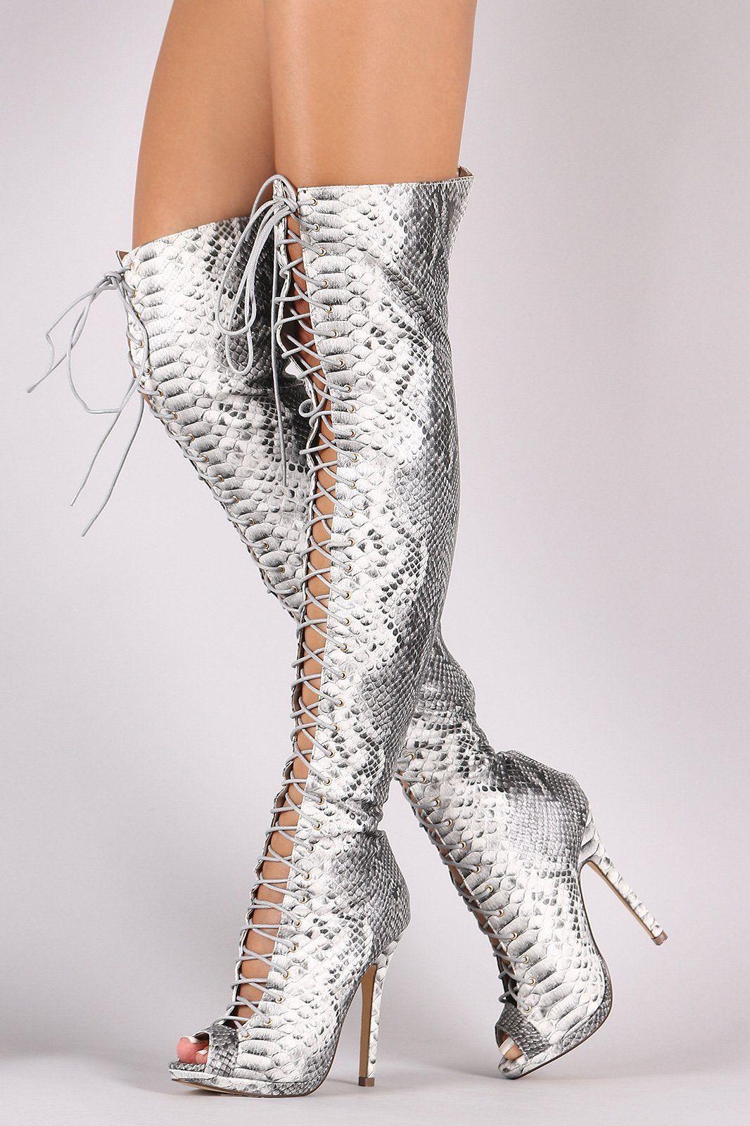 dba5329ddb5 Liliana Python Lace Up Stiletto Heeled Over-The-Knee Boots   stilettoheelsboots  goldstilettoheels