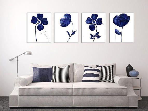 Wall Art Canvas Flower Set 4 Piece Wall Art Blue Wall Art Etsy Blue Wall Art Navy Blue Wall Art Abstract Flower Art