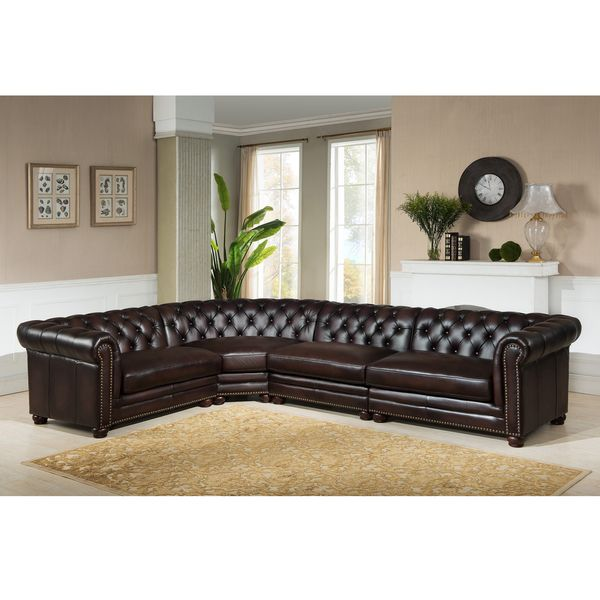 Everett Tufted Leather Settee In 2019: Cody Premium Top Grain Brown Tufted Leather Sectional Sofa