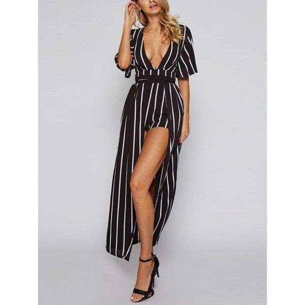 b66ff7cc714 Choies Black Striped Plunge Maxi Skirt Romper Playsuit ( 27) ❤ liked on  Polyvore featuring jumpsuits