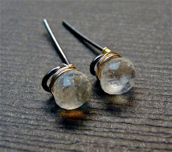 Moontone stud earrings- June birthstone- silver post earrings- gemstone stud earrings, Valentine gift for her