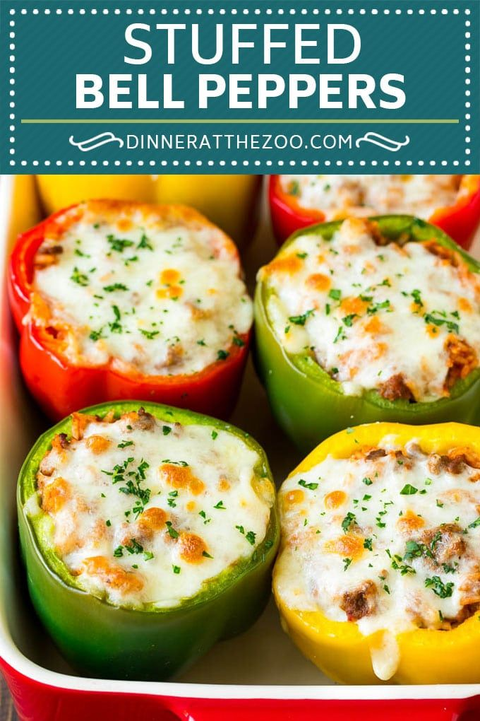 Stuffed Bell Peppers Recipe | Stuffed Peppers #beef #rice #peppers #dinner #cheese #dinneratthezoo #stuffedbellpeppers