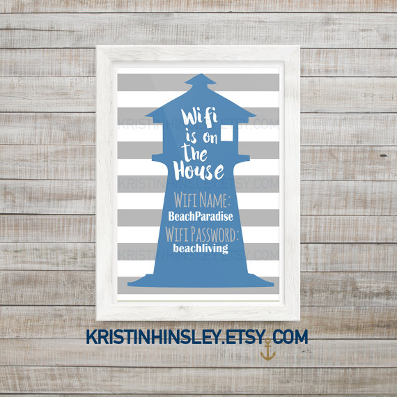 Guest Room Sign Decor Fascinating Wifi Password Printable Sign Network Andkristinhinsley On Etsy Design Decoration