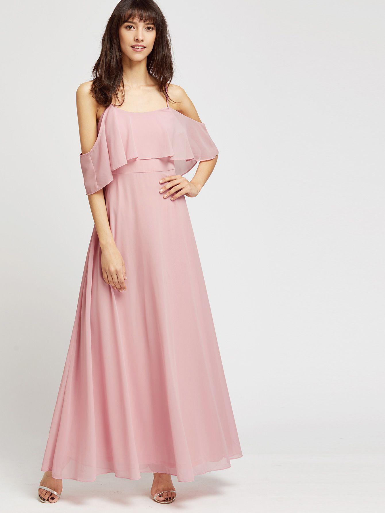 Vestido largo con hombros descubiertos - rosa | Vestiditos, Vestidos ...
