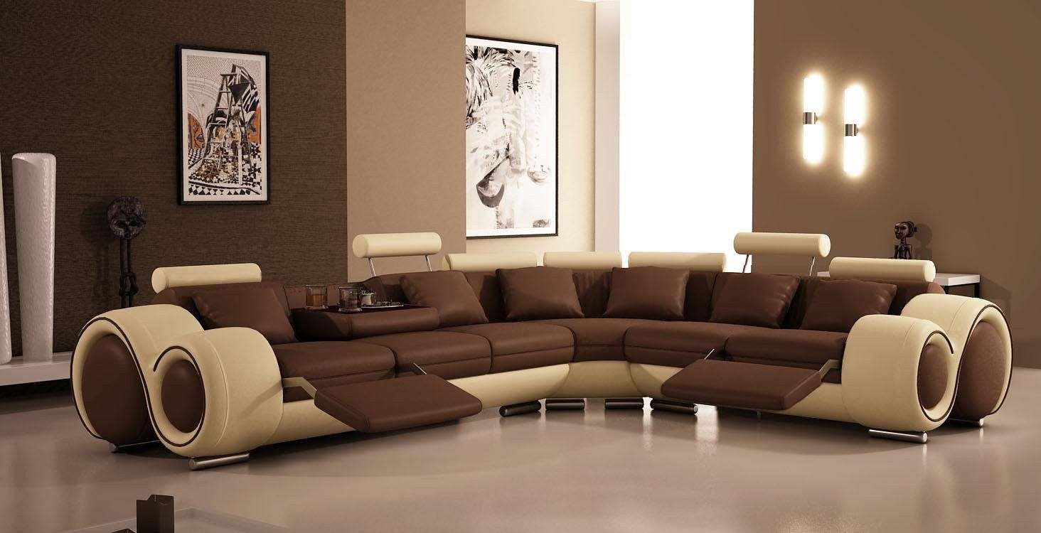Designer Brown And Cream Corner Recliner Top Graded Real Leather