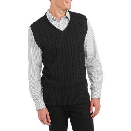 Sahara Club Men's Cable Knit Sweater Vest, Size: Medium, Black ...