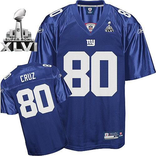 Giants #80 Victor Cruz Blue Super Bowl XLVI Embroidered NFL Jersey! Only  $19.50USD