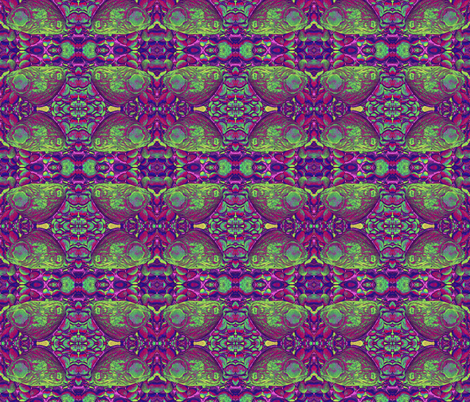 BUTTERFLIES ON THE ROCKS Purple Green fabric by paysmage on Spoonflower - custom fabric
