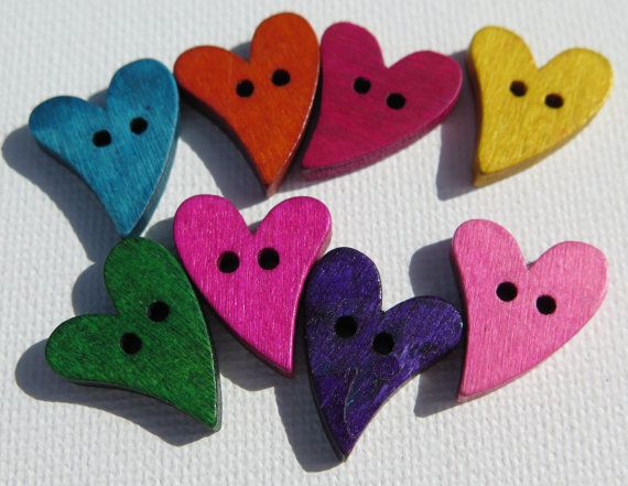Wood Buttons  Colored Wood Heart Buttons  8 Piece by HazalsBazaar, $3.20