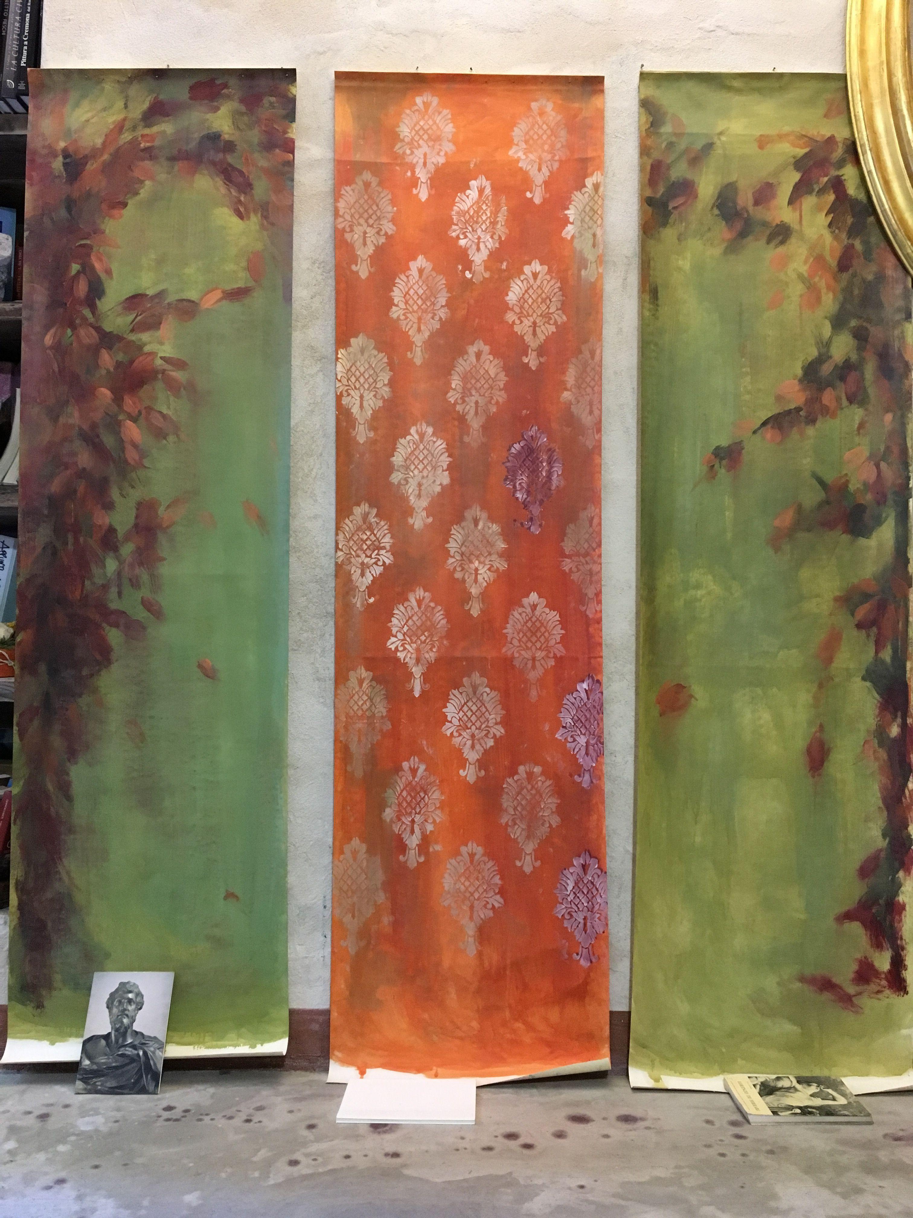 Tappezzeria Trompe L Oeil tappezzeria dipinta a mano a olio su carta. nel 2020