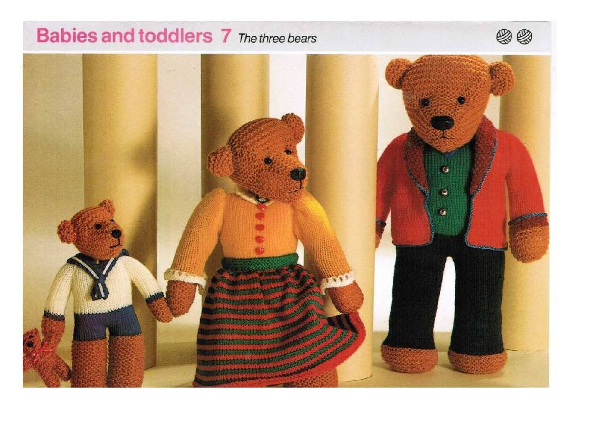Bears Dolls Toys Beautiful Bear vintage knitting pattern   l PDF Instant Download