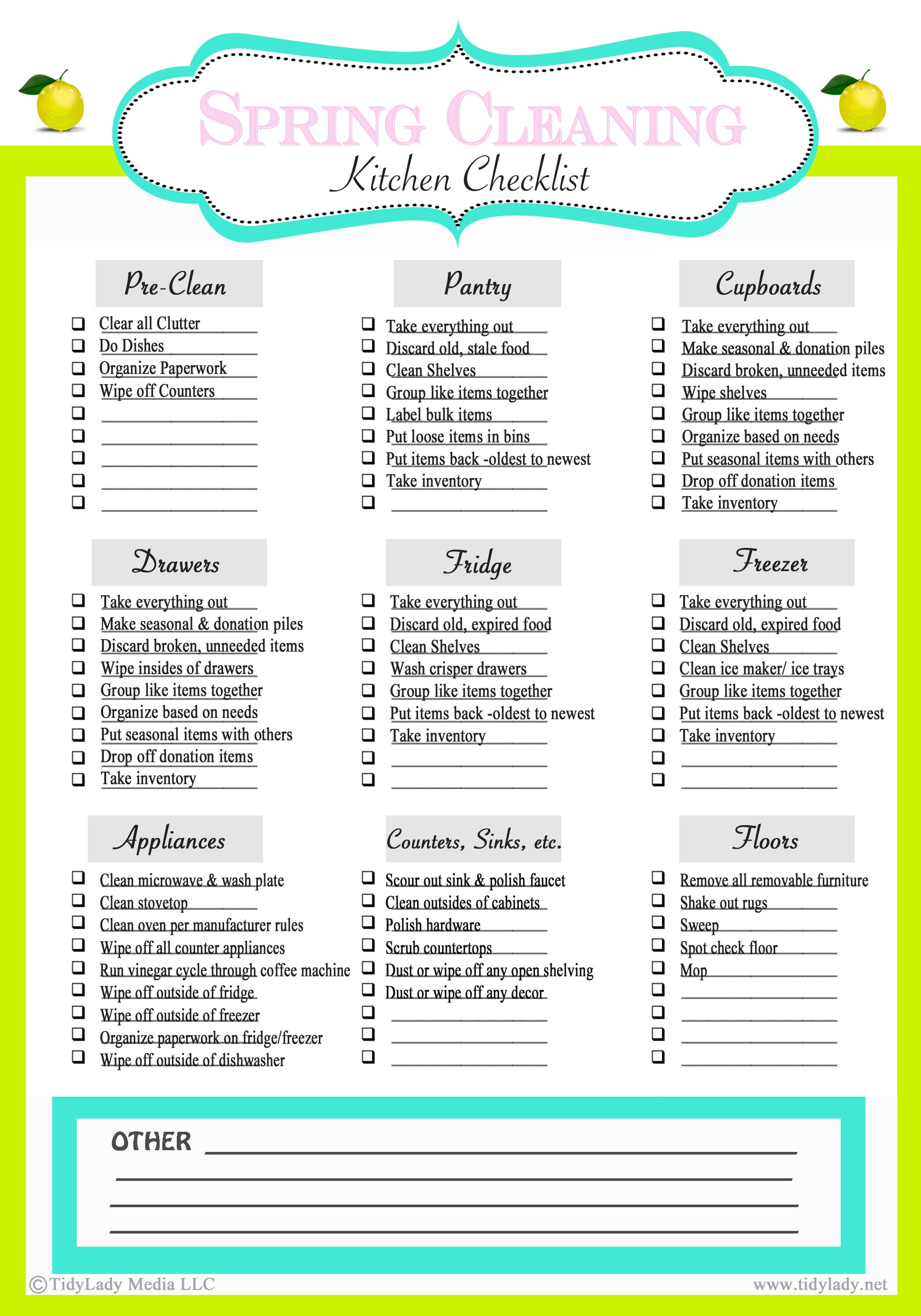 Weekly Meal Plan plus Pantry Clean Out Tips – Sample Spring Cleaning Checklist