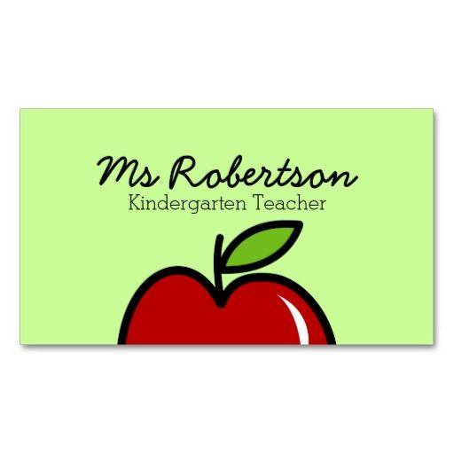 Teacher business card template with red apple teacher business teacher business card template with red apple wajeb Choice Image