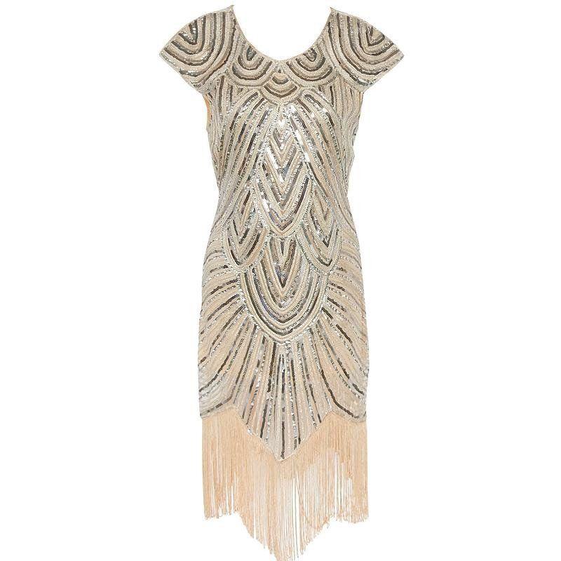 Luxury Brand 1920s Vintage Gatsby Art Deco Printed Sequin