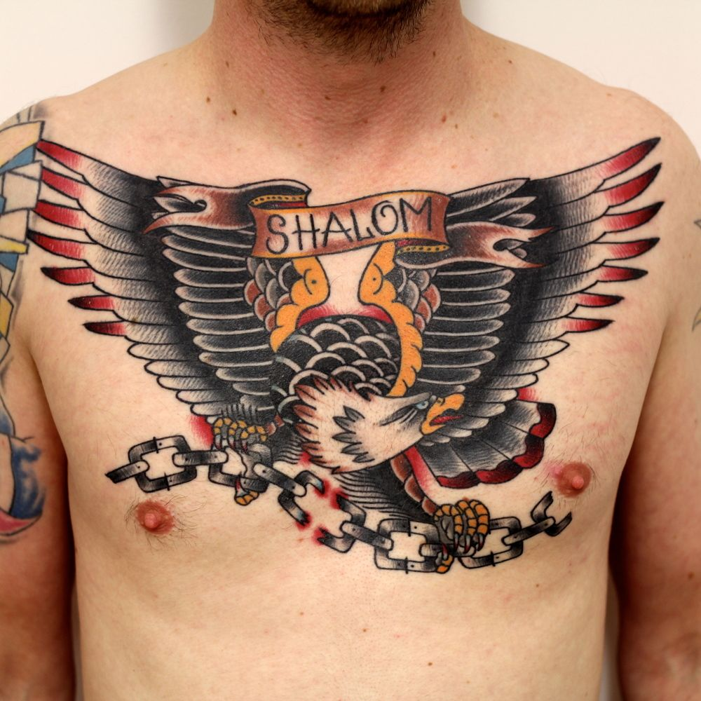 TomTom Traditional Eagle Chest Tattoo
