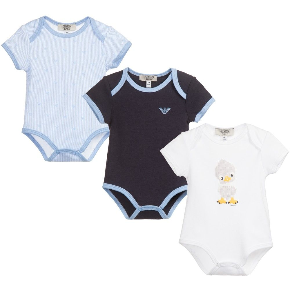 74ee1e0fc6f3 ARMANI NEWBORN Baby Boys Blue Bodyvest Gift Set (Pack of 3)