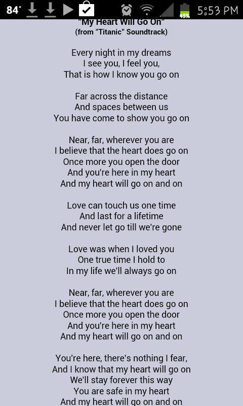 Céline Dion - My Heart Will Go On Lyrics