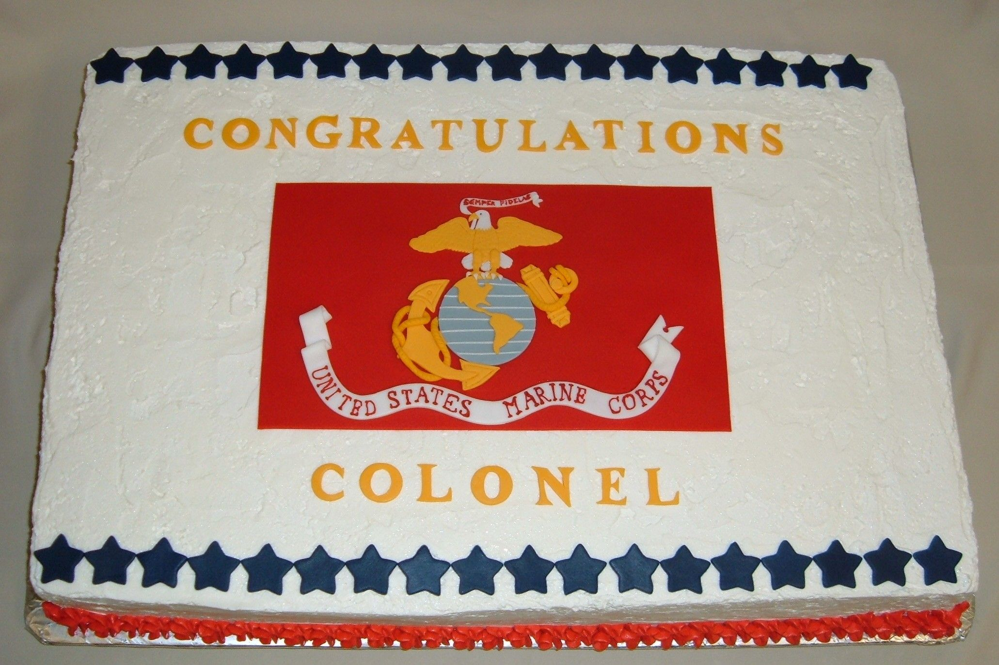 Custom Full Sheet Marine Corps Flag Cake with handmade