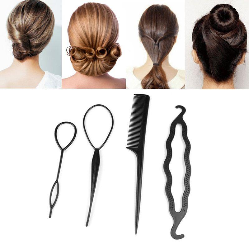 New 4Pcs Hair Twist Styling Clip Stick Bun Maker Braid