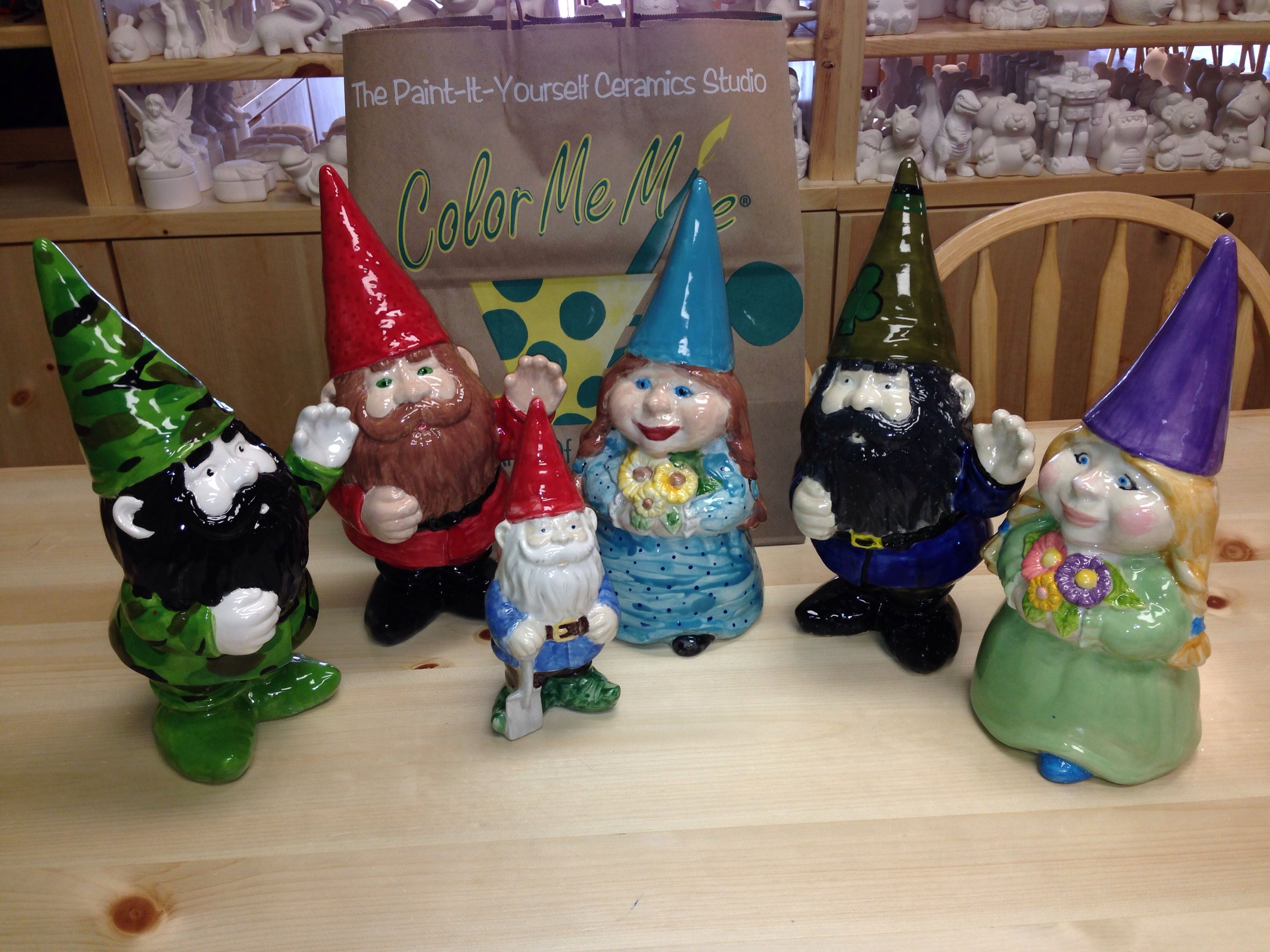 Garden Gnomes Color Me Mine Red Deer Pottery Painting Color Me