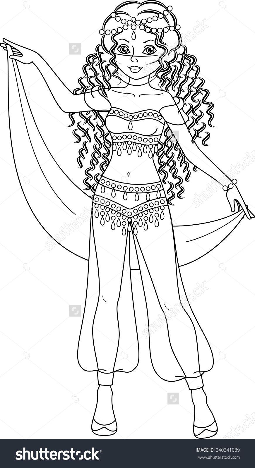 Princess Coloring Page Stock Vector Illustration 240341089 Shutterstock Princess Coloring Pages Princess Coloring Coloring Pages